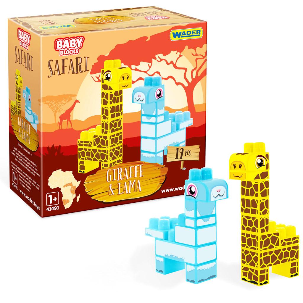 Baby Blocks Safari klocki żyrafa i lama