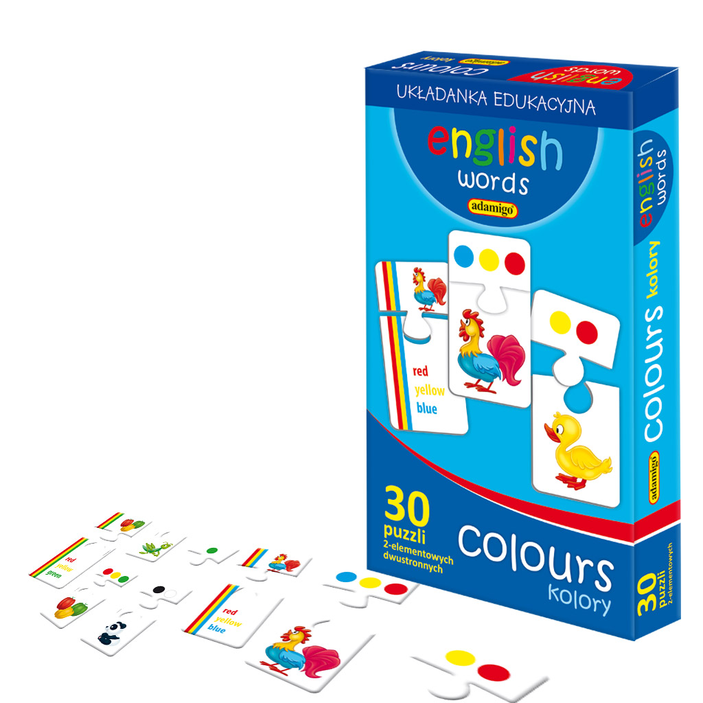 Puzzle dwustronne - kolory i angielski