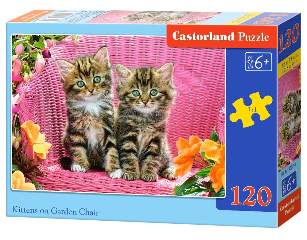 Puzzle 120 el. Kotki w ogrodzie