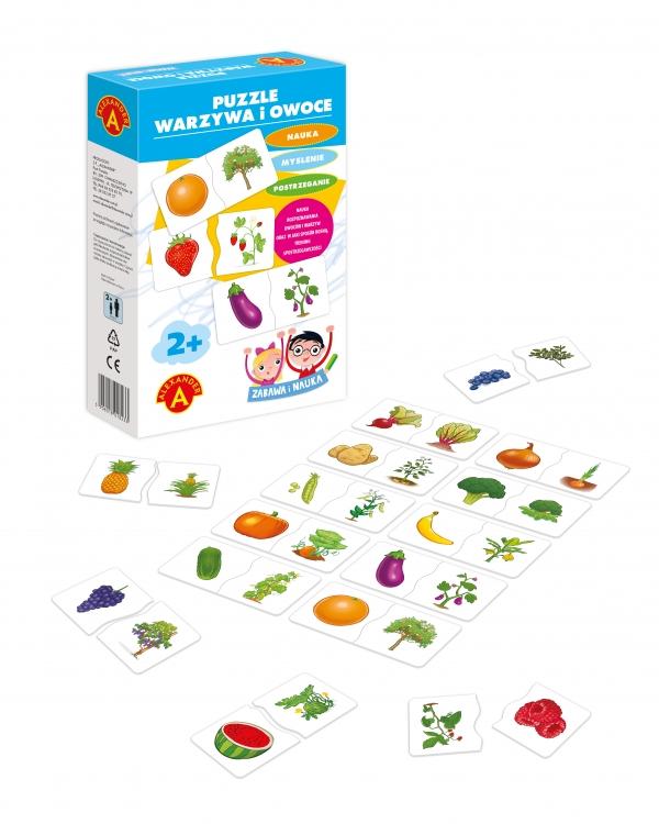 Puzzle Warzywa i owoce - zabawna nauka